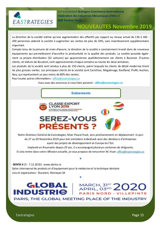 Eastrategies Page 15 NOUVEAUTES Novembre 2019 Correspondant Bretagne Commerce Interna#onal, Fédéra#on des Industries Mécan...