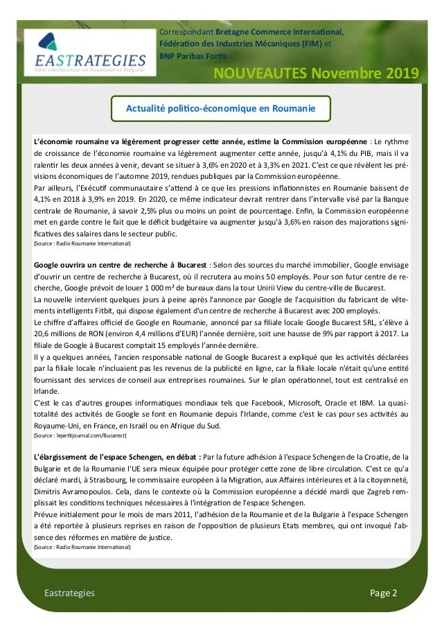 Eastrategies Page 2 Actualité poli#co-économique en Roumanie L'économie roumaine va légèrement progresser ce0e année, es#m...