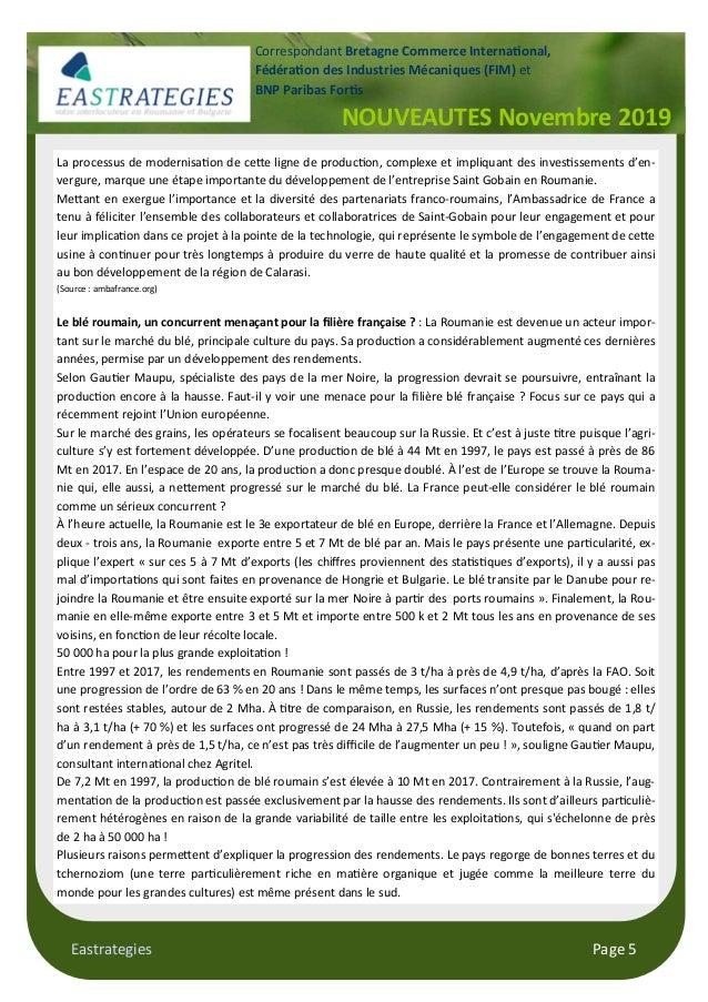 Eastrategies Page 5 NOUVEAUTES Novembre 2019 Correspondant Bretagne Commerce Interna#onal, Fédéra#on des Industries Mécani...