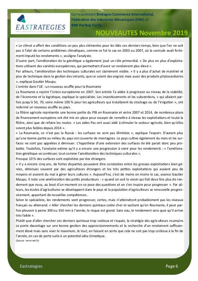 Eastrategies Page 6 NOUVEAUTES Novembre 2019 Correspondant Bretagne Commerce Interna#onal, Fédéra#on des Industries Mécani...