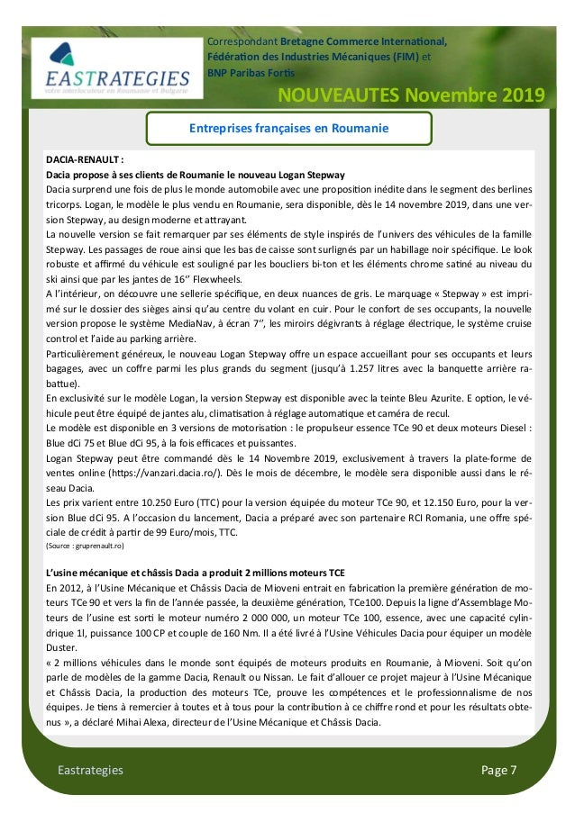 Eastrategies Page 7 NOUVEAUTES Novembre 2019 Correspondant Bretagne Commerce Interna#onal, Fédéra#on des Industries Mécani...