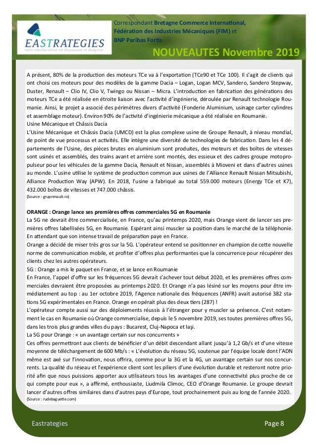 Eastrategies Page 8 NOUVEAUTES Novembre 2019 Correspondant Bretagne Commerce Interna#onal, Fédéra#on des Industries Mécani...