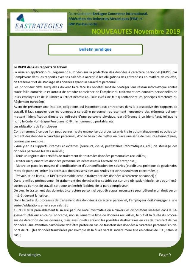 Eastrategies Page 9 NOUVEAUTES Novembre 2019 Correspondant Bretagne Commerce Interna#onal, Fédéra#on des Industries Mécani...