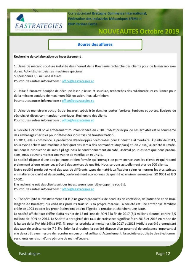 "Eastrategies Page 12 NOUVEAUTES Octobre 2019 Correspondant Bretagne Commerce Interna""onal, Fédéra""on des Industries Mécani..."