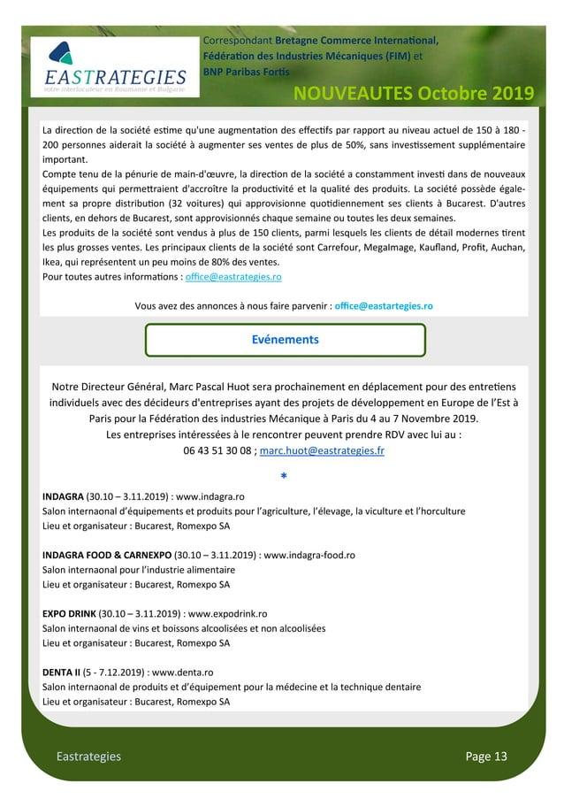 "Eastrategies Page 13 NOUVEAUTES Octobre 2019 Correspondant Bretagne Commerce Interna""onal, Fédéra""on des Industries Mécani..."