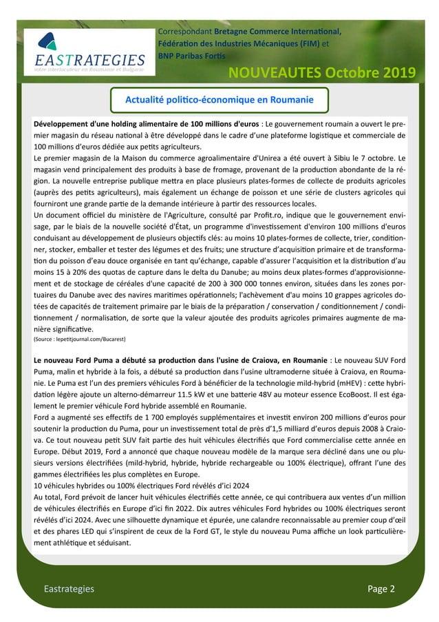 """Eastrategies Page 2 Actualité poli""""co-économique en Roumanie Développement d'une holding alimentaire de 100 millions d'eur..."""