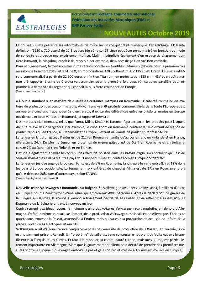 "Eastrategies Page 3 NOUVEAUTES Octobre 2019 Correspondant Bretagne Commerce Interna""onal, Fédéra""on des Industries Mécaniq..."