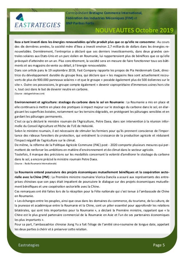 "Eastrategies Page 5 NOUVEAUTES Octobre 2019 Correspondant Bretagne Commerce Interna""onal, Fédéra""on des Industries Mécaniq..."