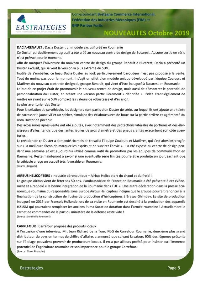 "Eastrategies Page 8 NOUVEAUTES Octobre 2019 Correspondant Bretagne Commerce Interna""onal, Fédéra""on des Industries Mécaniq..."