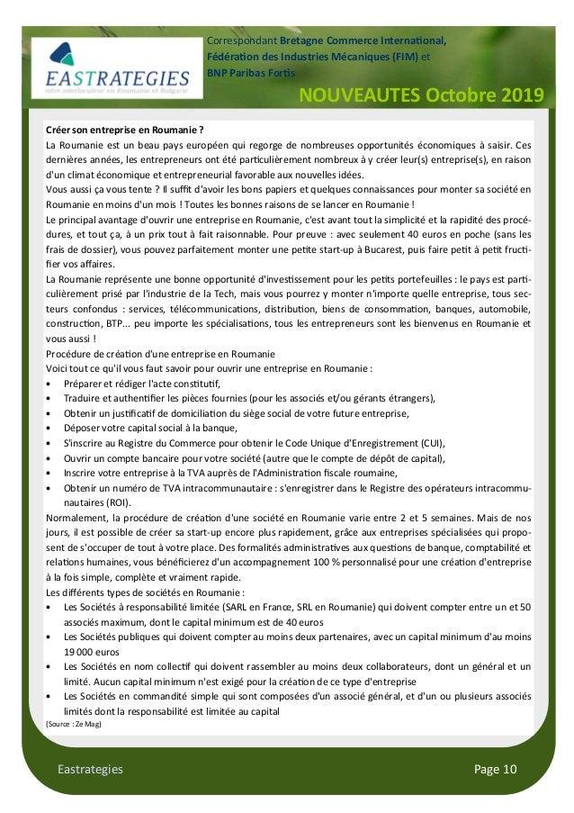 "Eastrategies Page 10 NOUVEAUTES Octobre 2019 Correspondant Bretagne Commerce Interna""onal, Fédéra""on des Industries Mécani..."