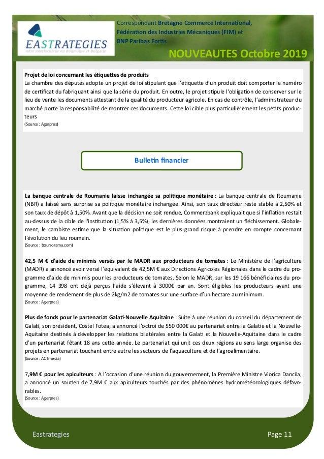 "Eastrategies Page 11 NOUVEAUTES Octobre 2019 Correspondant Bretagne Commerce Interna""onal, Fédéra""on des Industries Mécani..."