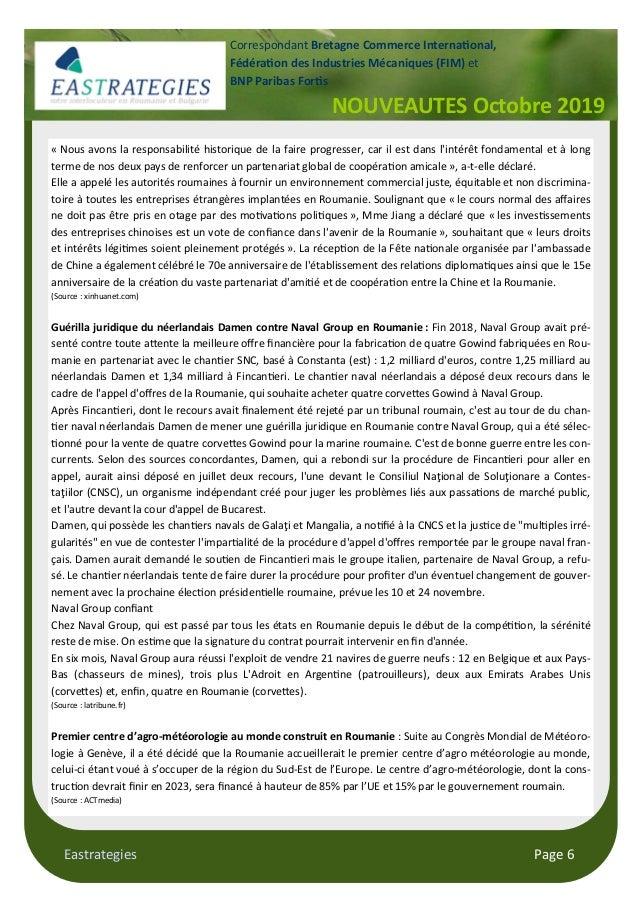 "Eastrategies Page 6 NOUVEAUTES Octobre 2019 Correspondant Bretagne Commerce Interna""onal, Fédéra""on des Industries Mécaniq..."