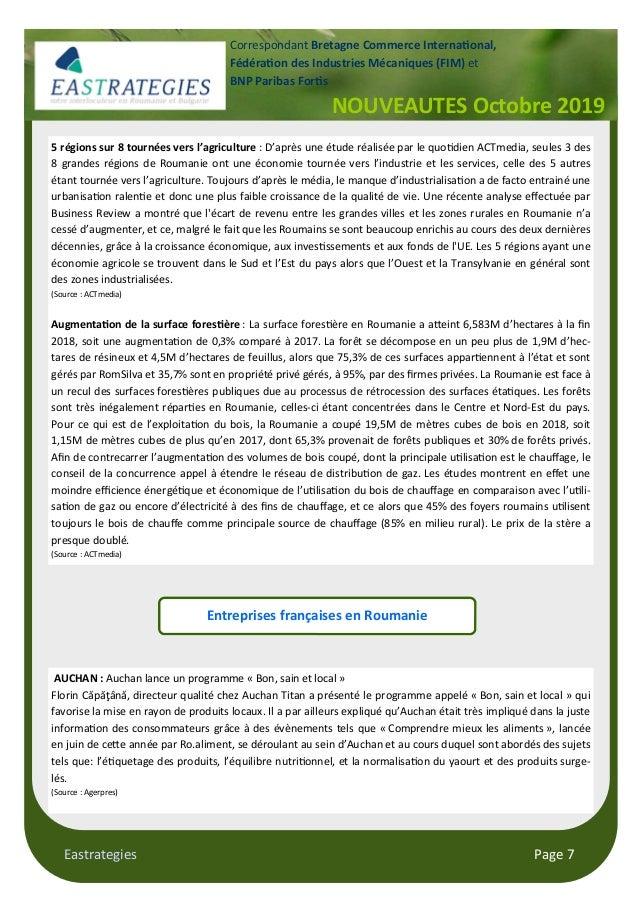 "Eastrategies Page 7 NOUVEAUTES Octobre 2019 Correspondant Bretagne Commerce Interna""onal, Fédéra""on des Industries Mécaniq..."