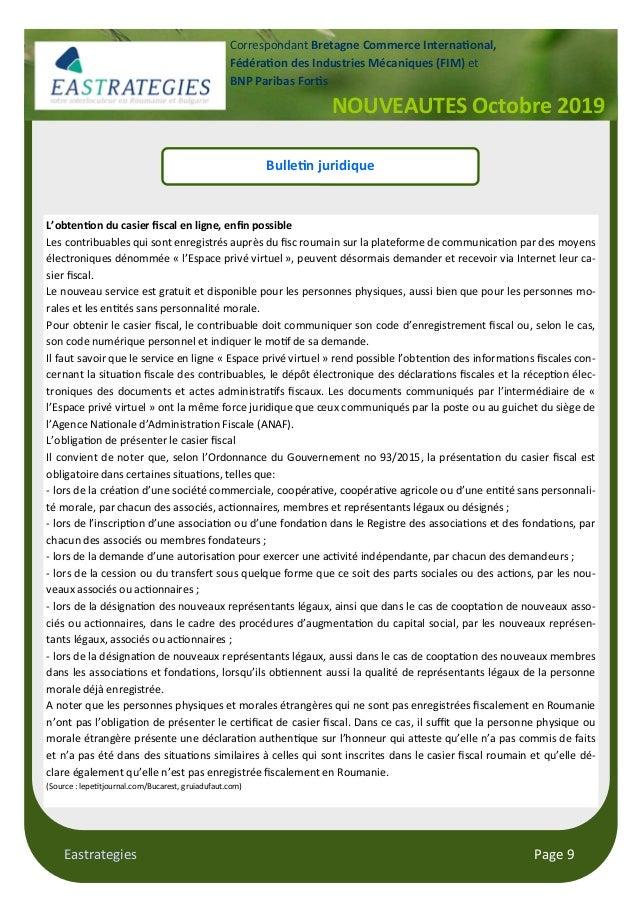 "Eastrategies Page 9 NOUVEAUTES Octobre 2019 Correspondant Bretagne Commerce Interna""onal, Fédéra""on des Industries Mécaniq..."