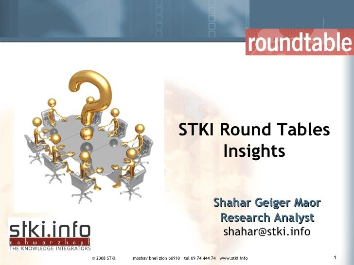 Shahar Geiger Maor Research Analyst [email_address] STKI Round Tables Insights