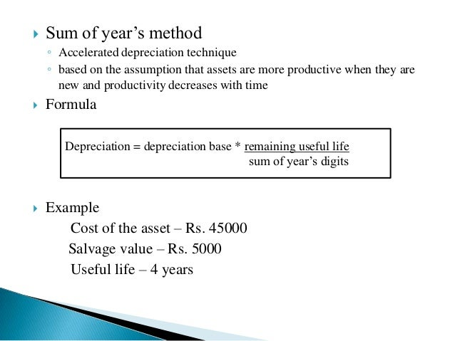 depreciation sum of years method This topic provides information about fixed asset depreciation for legal entities in hungary in hungary, there are four country-specific depreciation methods: straight line (hungary.