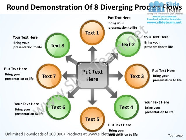 Round Demonstration Of 8 Diverging Process Flows                                                 Put Text Here            ...
