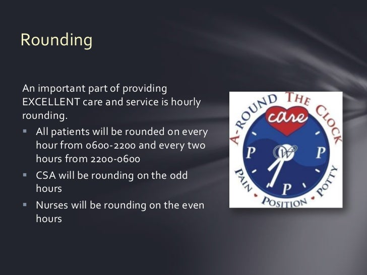 RoundingAn important part of providingEXCELLENT care and service is hourlyrounding. All patients will be rounded on every...