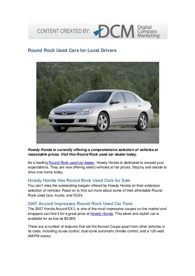 Round Rock Used Cars For Local Drivers Howdy Honda Is Currently Offering A  Comprehensive Selection Of ...