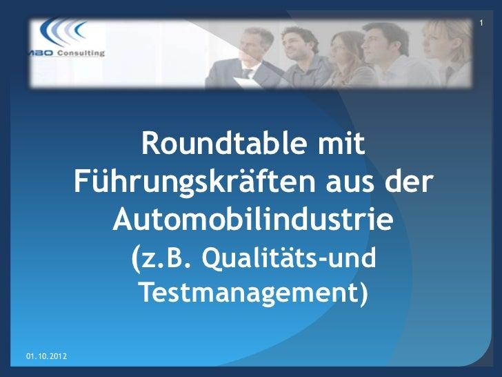 1                 Roundtable mit             Führungskräften aus der               Automobilindustrie                (z.B....