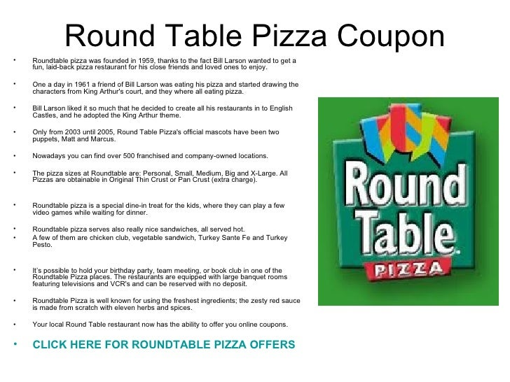 Round Table Pizza Coupon - Round table pizza online
