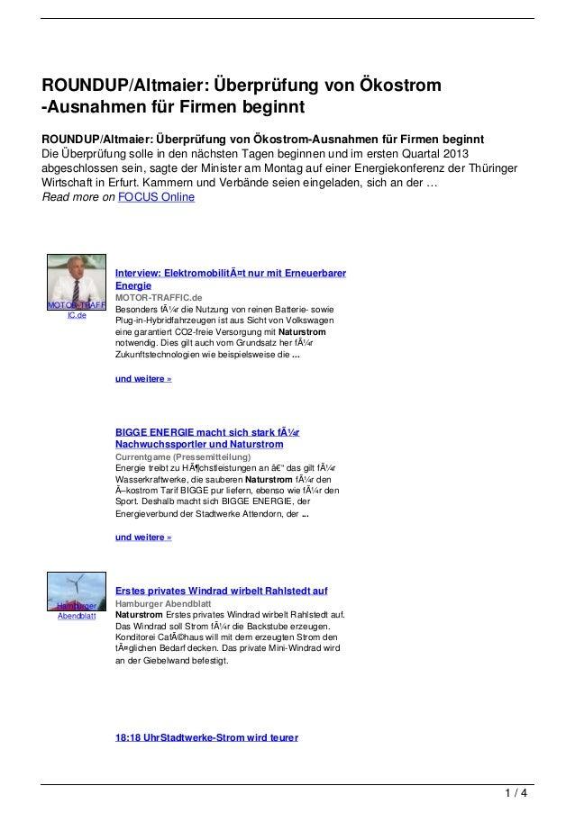 ROUNDUP/Altmaier: Überprüfung von Ökostrom-Ausnahmen für Firmen beginntROUNDUP/Altmaier: Überprüfung von Ökostrom-Ausnahme...