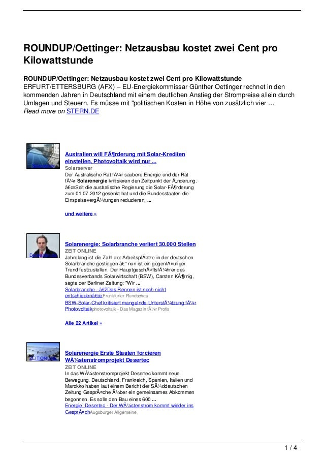 ROUNDUP/Oettinger: Netzausbau kostet zwei Cent proKilowattstundeROUNDUP/Oettinger: Netzausbau kostet zwei Cent pro Kilowat...