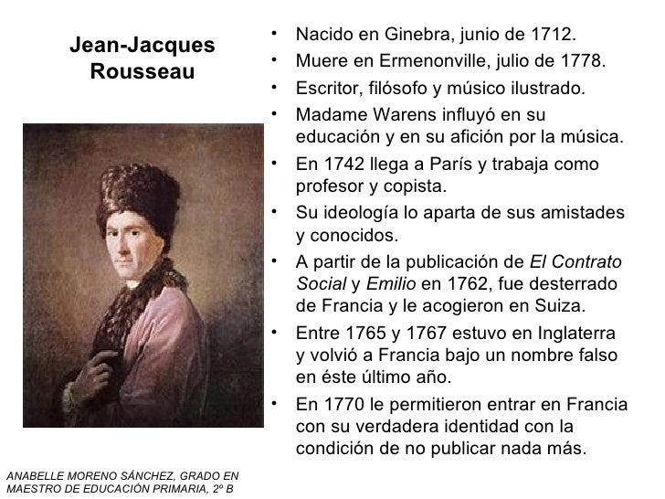 Jean-Jacques Rousseau <ul><li>Nacido en Ginebra, junio de 1712. </li></ul><ul><li>Muere en Ermenonville, julio de 1778. </...