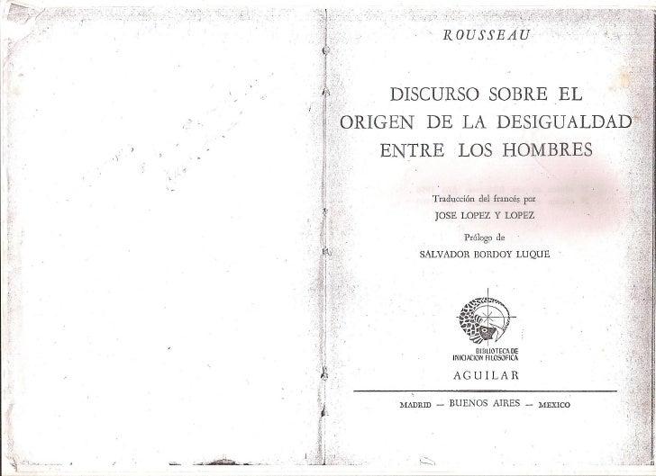 Rousseau -  Discurso sobre el origen de la desigualdad de los hombres