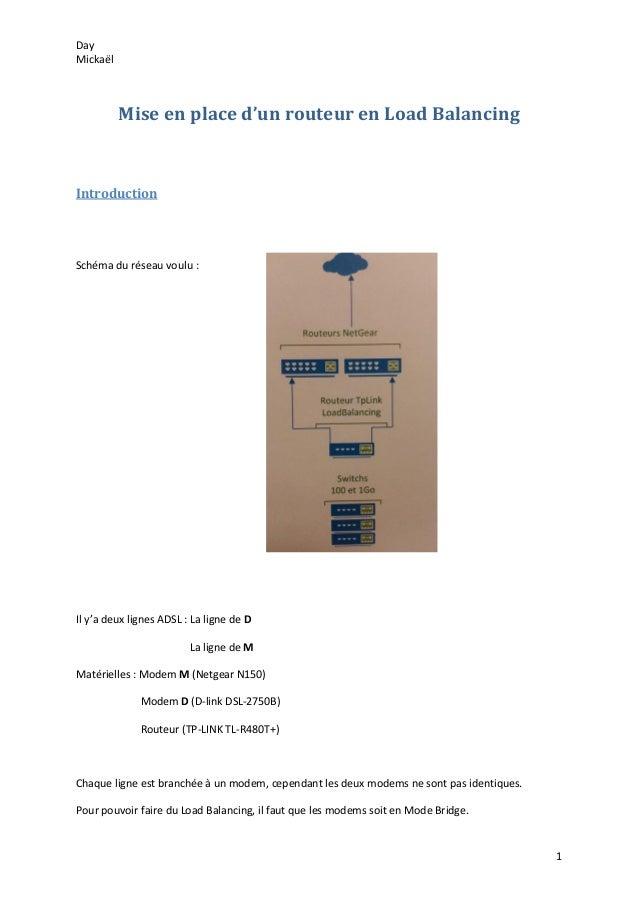 Day Mickaël 1 Mise en place d'un routeur en Load Balancing Introduction Schéma du réseau voulu : Il y'a deux lignes ADSL :...
