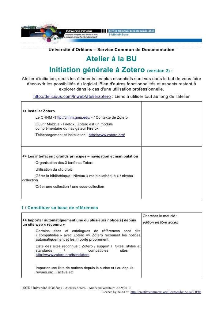 Université d'Orléans – Service Commun de Documentation                                 Atelier à la BU                    ...