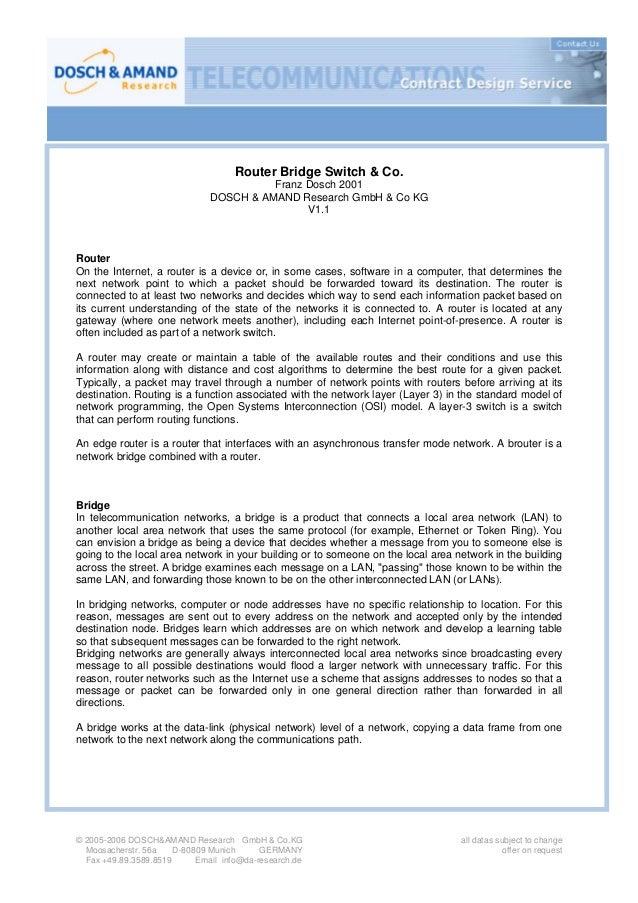 Router Bridge Switch & Co.                                         Franz Dosch 2001                               DOSCH & ...