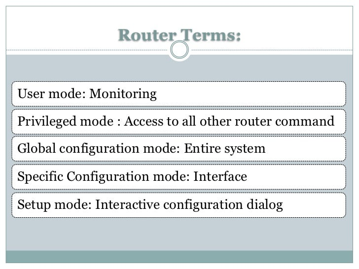 Router Terms:User mode: MonitoringPrivileged mode : Access to all other router commandGlobal configuration mode: Entire sy...