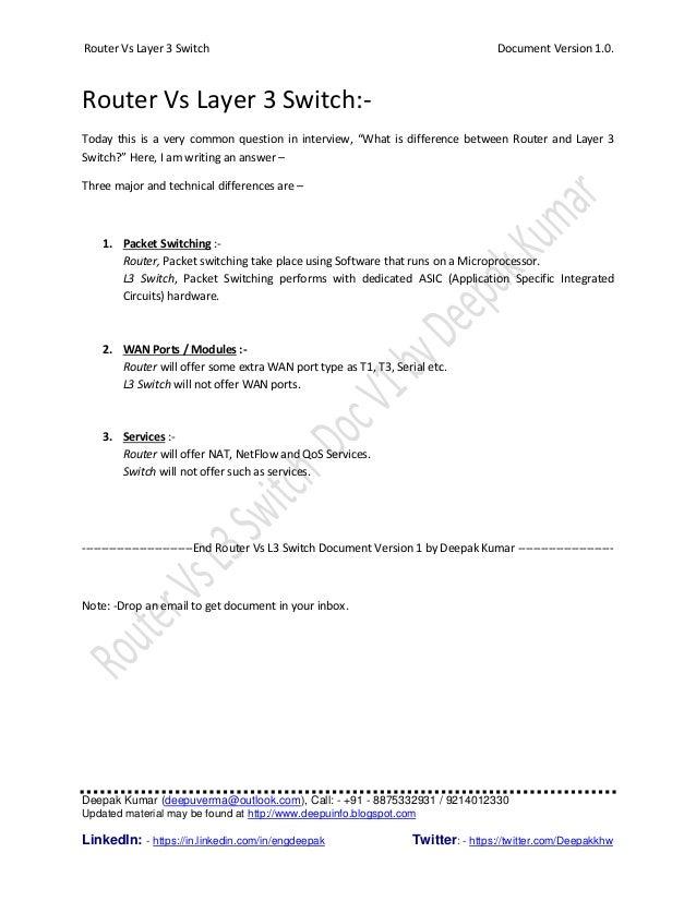 Router Vs Layer 3 Switch Document Version 1.0. Deepak Kumar (deepuverma@outlook.com), Call: - +91 - 8875332931 / 921401233...
