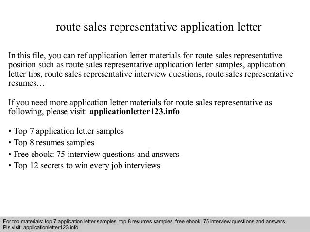 Route sales representative application letter