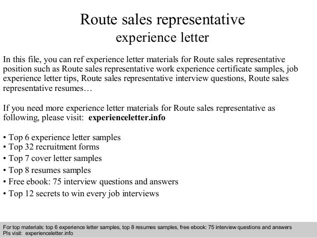 Route Sales Representative Experience Letter In This File, You Can Ref  Experience Letter Materials For Experience Letter Sample ...