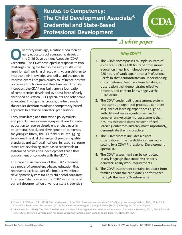 routes to competency: the child development associate® credential and…
