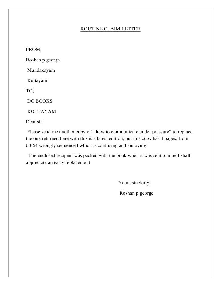 Routine claim letter