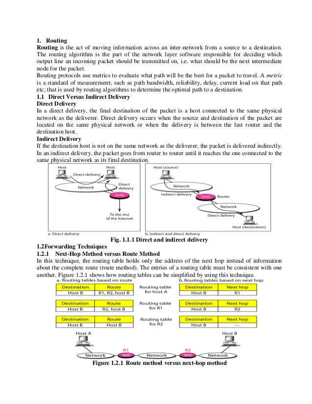1. Routing Routing is the act of moving information across an inter-network from a source to a destination. The routing al...
