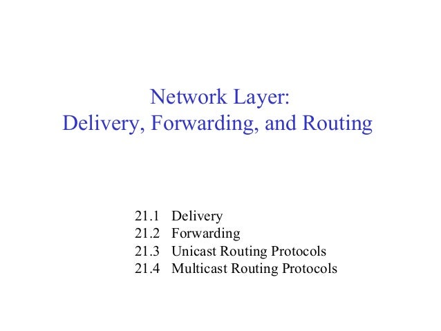 Network Layer:  Delivery, Forwarding, and Routing  21.1 Delivery  21.2 Forwarding  21.3 Unicast Routing Protocols  21.4 Mu...