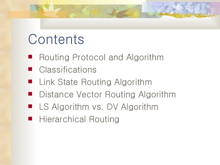 Routing algorithm Slide 2