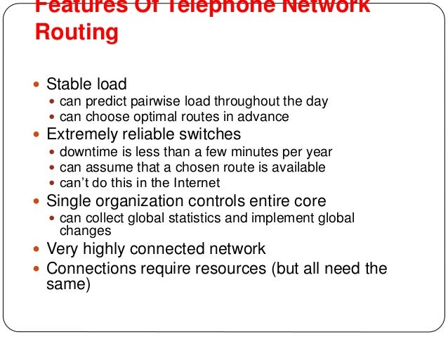 Routing in telephone networks specialized for 9 features of telephone network publicscrutiny Images