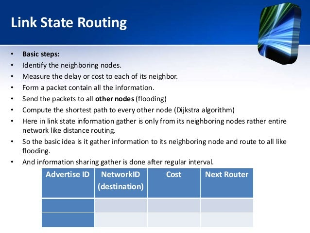 Link State Routing • Basic steps: • Identify the neighboring nodes. • Measure the delay or cost to each of its neighbor. •...