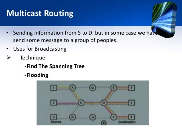 Multicast Routing • Sending information from S to D. but in some case we have to send some message to a group of peoples. ...