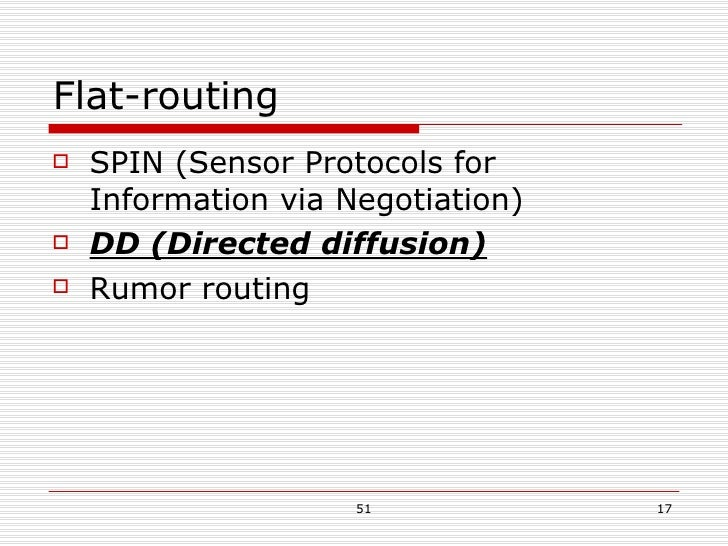 Flat-routing <ul><li>SPIN (Sensor Protocols for Information via Negotiation) </li></ul><ul><li>DD (Directed diffusion) </l...