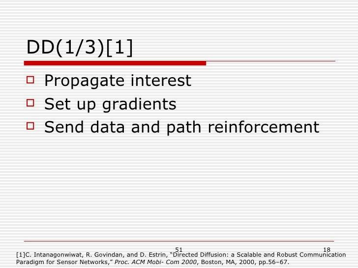 DD(1/3)[1] <ul><li>Propagate interest </li></ul><ul><li>Set up gradients </li></ul><ul><li>Send data and path reinforcemen...