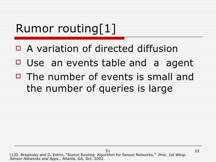 Rumor routing[1] <ul><li>A variation of directed diffusion </li></ul><ul><li>Use  an events table and  a  agent </li></ul>...