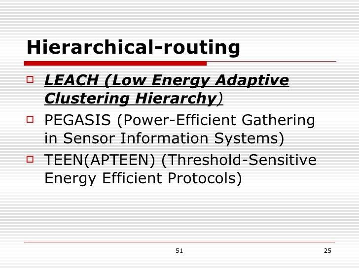Hierarchical-routing <ul><li>LEACH (Low Energy Adaptive Clustering Hierarchy ) </li></ul><ul><li>PEGASIS (Power-Efficient ...