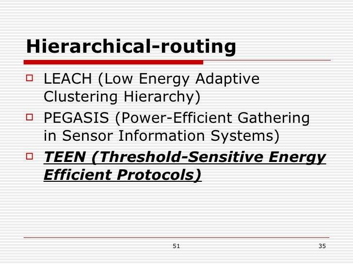 Hierarchical-routing <ul><li>LEACH (Low Energy Adaptive Clustering Hierarchy) </li></ul><ul><li>PEGASIS (Power-Efficient G...