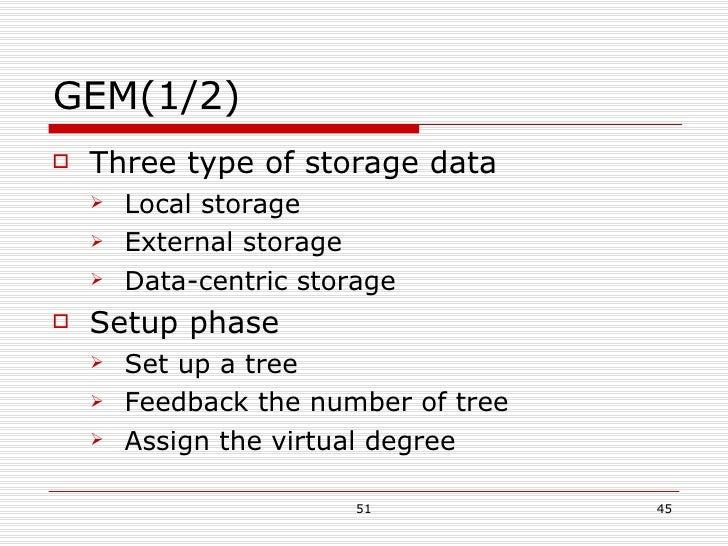 GEM(1/2) <ul><li>Three type of storage data </li></ul><ul><ul><li>Local storage </li></ul></ul><ul><ul><li>External storag...